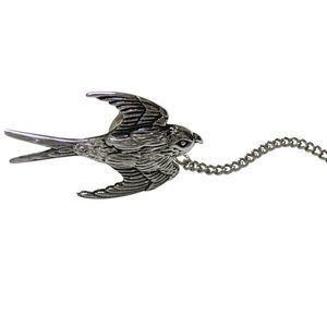 Silver Toned Sparrow Bird Tie Tack